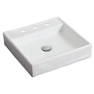 17.5-in. W x 17.5-in. D Above Counter Square Vessel In White Color For 8-in. o.c. Faucet