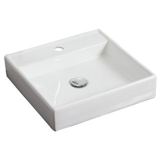 17.5-in. W x 17.5-in. D Above Counter Square Vessel In White Color For Single Hole Faucet