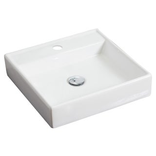 17.5-in. W x 17.5-in. D Wall Mount Square Vessel In White Color For Single Hole Faucet