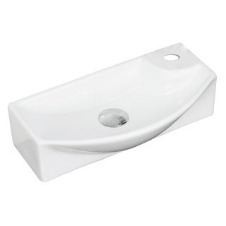 18-in. W x 9-in. D Wall Mount Rectangle Vessel In White Color For Single Hole Faucet