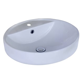 18.1-in. W x 18.1-in. D Above Counter Round Vessel In White Color For Single Hole Faucet