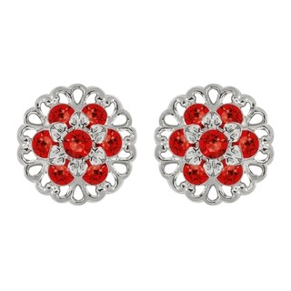 Lucia Costin Sterling Silver Red Crystal Earrings