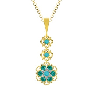 Lucia Costin Sterling Silver Turquoise - Green Crystal Pendant