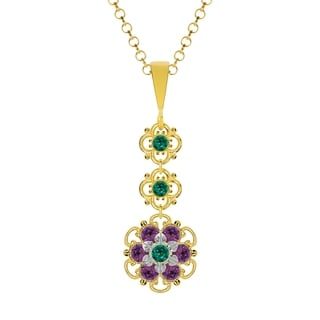 Lucia Costin Sterling Silver Green/ Violet Crystal Pendant