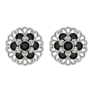 Lucia Costin Sterling Silver Black Crystal Earrings