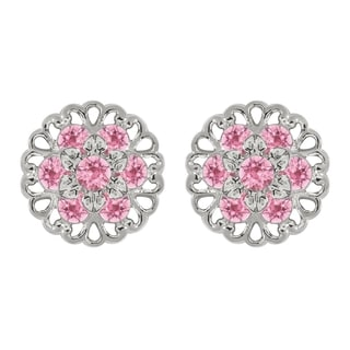 Lucia Costin Sterling Silver Light Pink Crystal Earrings