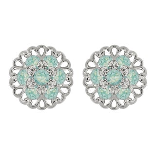 Lucia Costin Sterling Silver Mint Blue Crystal Earrings