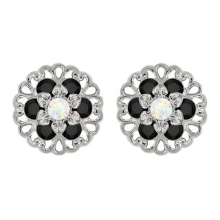 Lucia Costin Sterling Silver White/ Black Crystal Earrings
