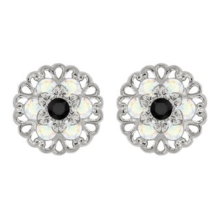 Lucia Costin Sterling Silver Black/ White Crystal Earrings