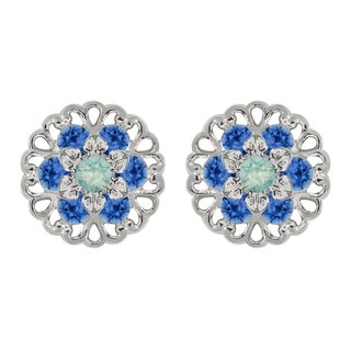 Lucia Costin Sterling Silver Mint Blue/ Blue Crystal Earrings