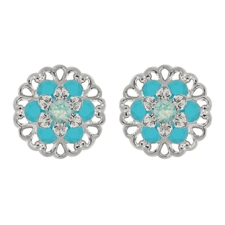 Lucia Costin Sterling Silver Mint Blue/ Turquoise Crystal Earrings