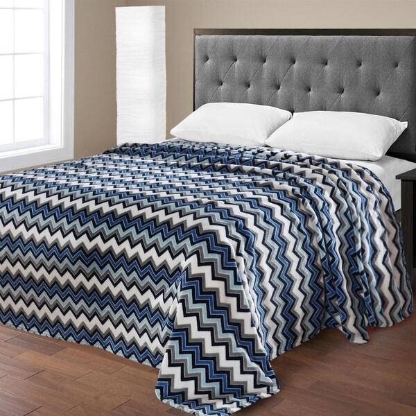 Shop Ultra Plush Micro Fleece Zig Zag Printed Blanket