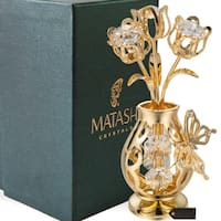 Genuine Matashi Crystals Vase Ornament Dipped in 24k Goldplating