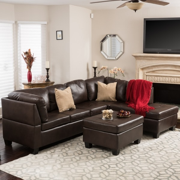 Merveilleux Canterbury 3 Piece PU Leather Sectional Sofa Set By Christopher Knight Home