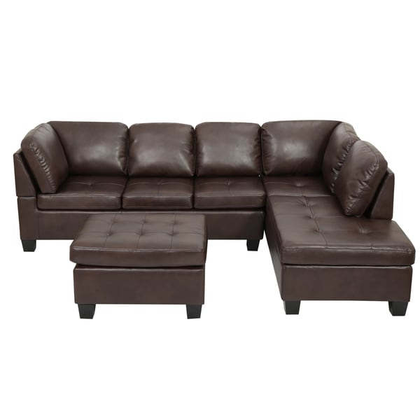 Canterbury 3 Piece PU Leather Sectional Sofa Set By Christopher Knight Home    Free Shipping Today   Overstock.com   17868550