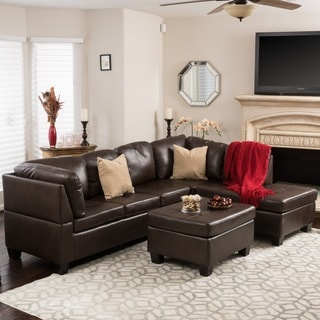 Canterbury 3-piece PU Leather Sectional Sofa Set by Christopher Knight Home (Option : brown leather sectionals - Sectionals, Sofas & Couches