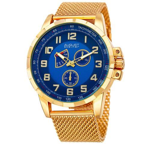 August Steiner Men's Quartz Quartz Stainless Steel Mesh Gold-Tone Bracelet Watch
