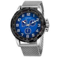 August Steiner Men's Quartz Quartz Stainless Steel Mesh Silver-Tone Bracelet Watch - BLue