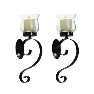 Adeco Metal Wall Sconces with Glass Candle Holder