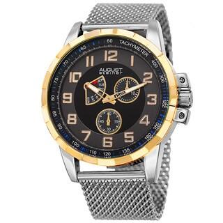 August Steiner Men's Quartz Quartz Stainless Steel Mesh Silver-Tone Bracelet Watch - silver