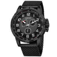 August Steiner Men's Quartz Quartz Stainless Steel Mesh Black Bracelet Watch
