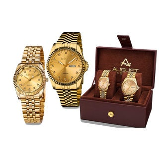 August Steiner His & Hers Quartz Sunray Dial 2-Piece Gold-Tone Bracelet Watch Set