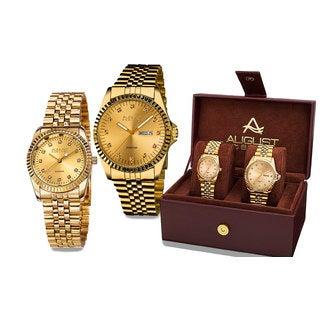 August Steiner His & Hers Quartz Sunray Dial 2-Piece Gold-Tone Bracelet Watch Set