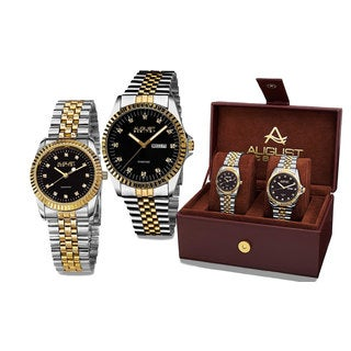 August Steiner His & Hers Quartz Sunray Dial 2-Piece Two-Tone Bracelet Watch Set