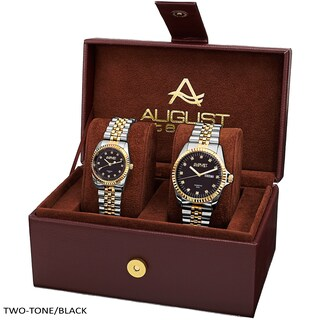 August Steiner His & Hers Diamond Sunray Dial 2-piece Bracelet Watch Box Set (Option: two-tone & black)
