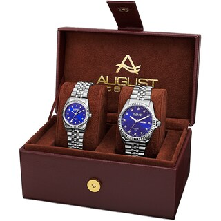 August Steiner His & Hers Diamond Sunray Dial 2-piece Bracelet Watch Box Set (Option: Silver-Tone / Blue)