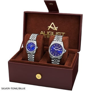August Steiner His & Hers Diamond Sunray Dial 2-piece Bracelet Watch Box Set (Option: silver-tone & blue)