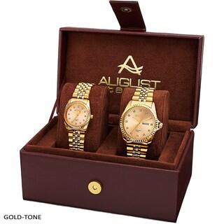 August Steiner His & Hers Diamond Sunray Dial 2-piece Bracelet Watch Box Set (Option: Gold-tone)