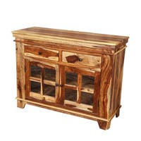 Porter Taos 2-door, 2-drawer Solid Sheesham Wood Cabinet with 8 Glass Panes (India)