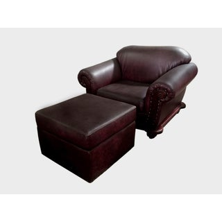 Handmade D-Art Maroon Arm Chair and Ottoman (Indonesia)