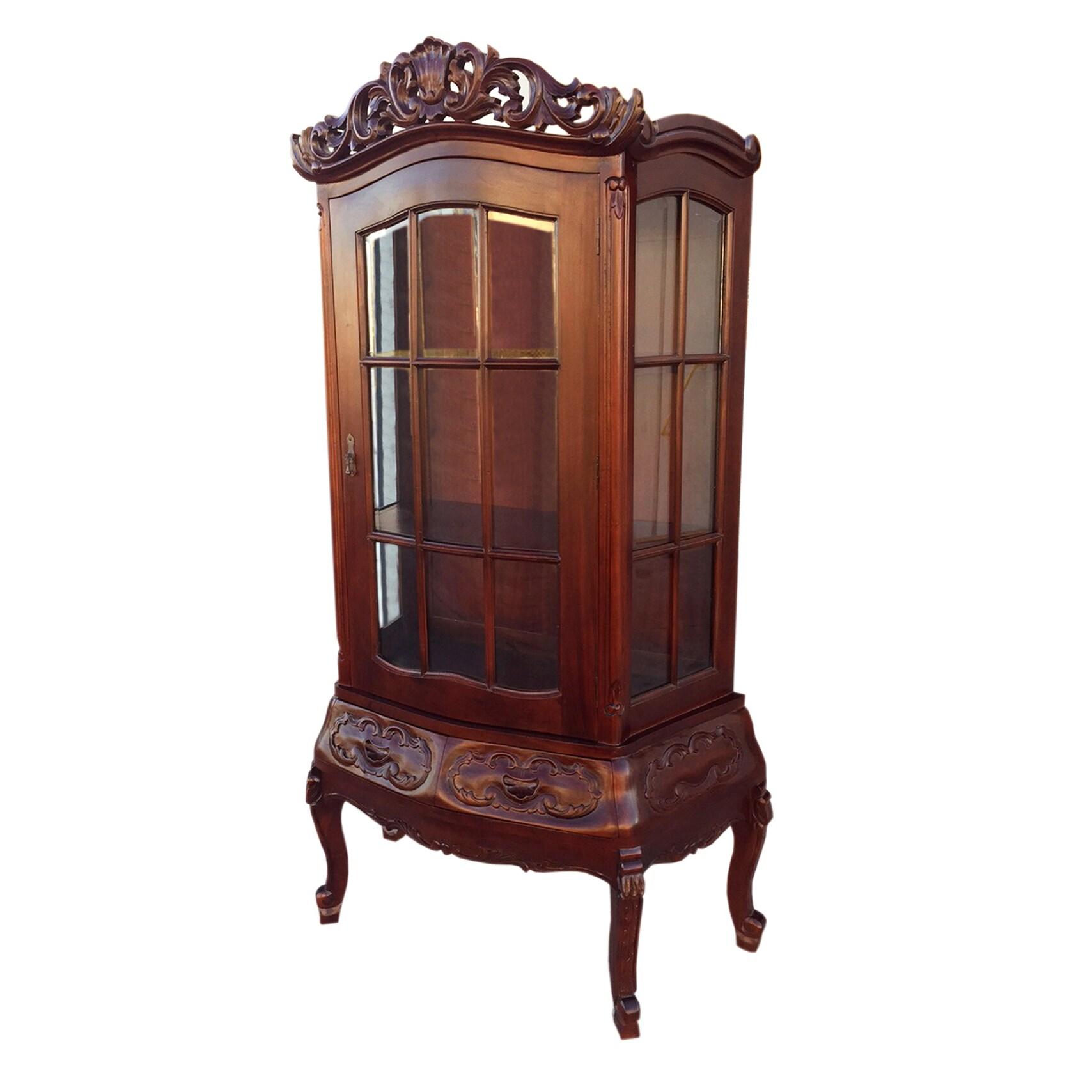 D-Art Victorian Display Hutch (Indonesia) (Dark Brown)