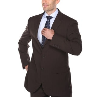 Verno Servello Men's Dark Brown Textured Stripe Classic Fit Italian Styled Two-Piece Suit