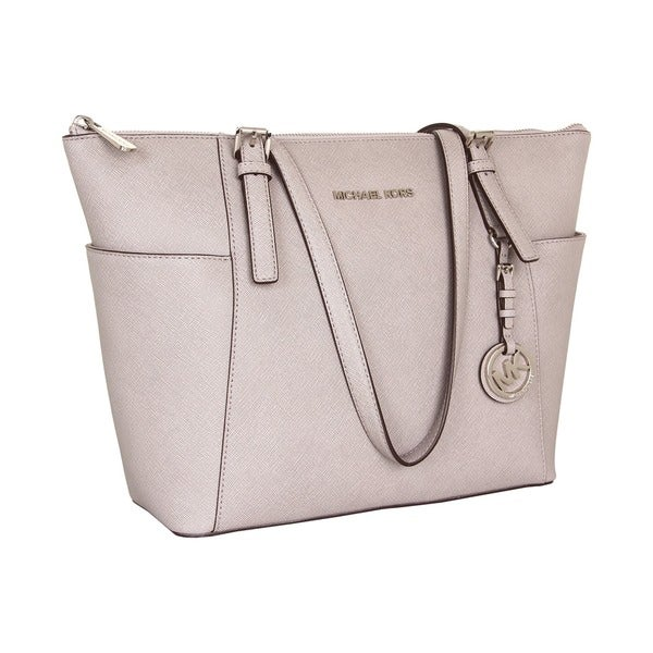 5ccbeba6b297 Shop Michael Michael Kors Jet Set East West Top Zip Tote Pearl Grey ...