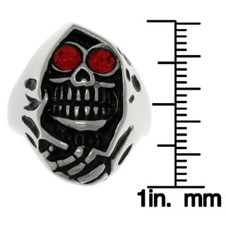 Carolina Glamour Collection Stainless Steel Red Cubic Zirconia Grim Reaper Skull Ring