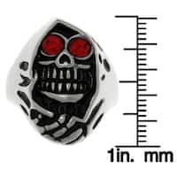 Stainless Steel Red Cubic Zirconia Grim Reaper Skull Ring