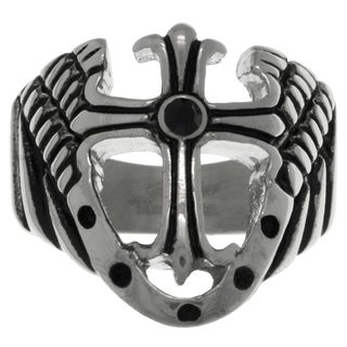 Carolina Glamour Collection Stainless Steel Cross with Shield and Wings Wide Band Ring - Black