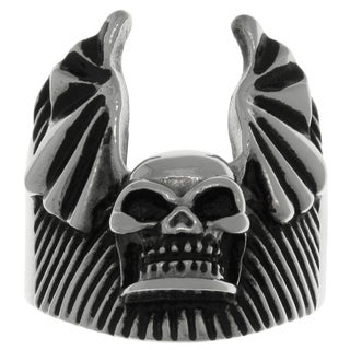 Carolina Glamour Collection 316L Surgical Stainless Steel Skull Bat Wing Ring