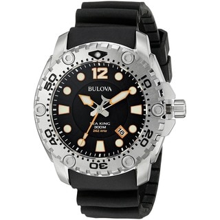 Bulova Men's 96B228 'Sea King' Black Rubber Watch