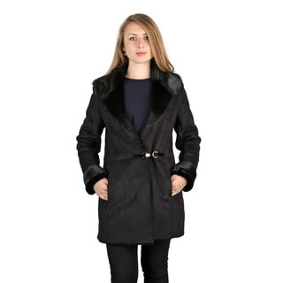 Vera Wang Black Faux Shearling Coat