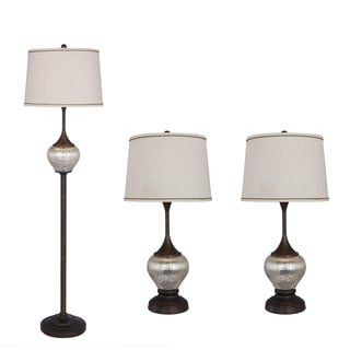 3PC Mercury Glass & Metal Lamp Set in Oil Rubbed Bronze Finish