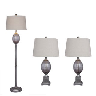 Antique Dark Silver Metal & Smoke Grey Seeded Glass 3PC Lamp Set