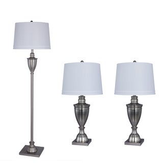 3-piece Metal Lamp Set in Brushed Steel Finish
