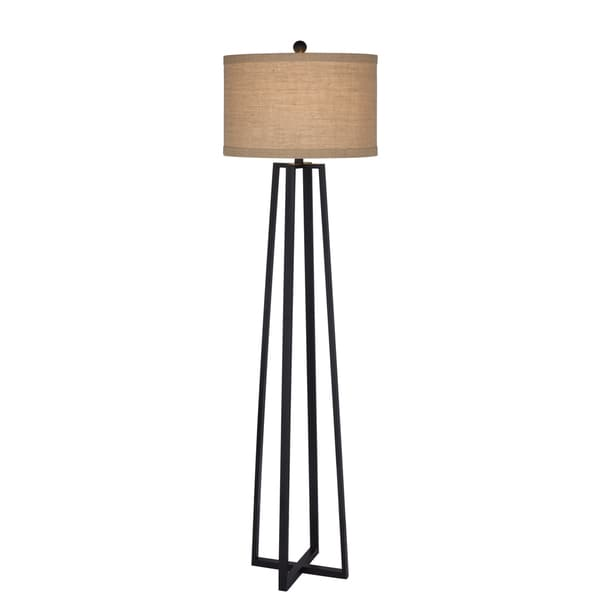 62 inch Black Molded Metal Floor Lamp