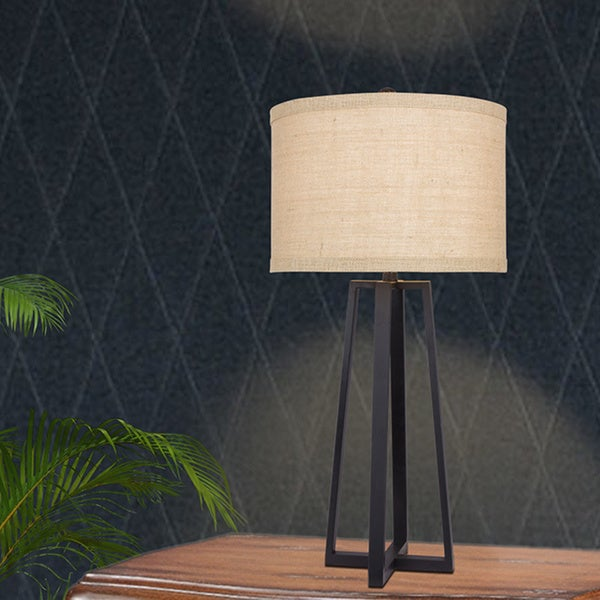 33 inch Black Molded Metal Table Lamp