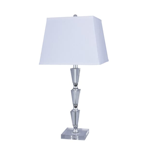27.5 inch Crystal & Metal Table Lamp with Chrome Accents