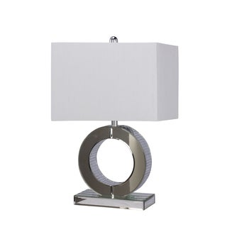 "23"" Mirror Circle Glass & Metal Table Lamp in Silver Finish"